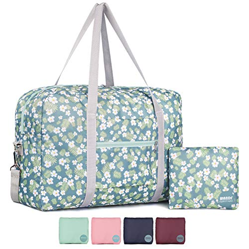 Wandf Foldable Travel Duffel Bag Luggage Sports Gym Water Resistant Nylon (A-Tropical Flower)