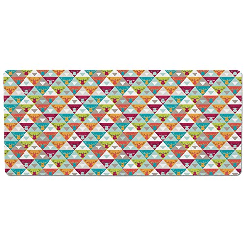 iPrint Pet Mat for Food and Water,Indie,Triangles Pattern with Deer Elk Portraits Geometric Colorful Funky Hipster Tile Urban Decorative,Multicolor,Rectangle Non-Slip Rubber Mat for Dogs and Cats (Portrait Elk)