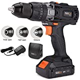 Cordless Drill, Tacklife 20V Drill 2000Ah Lithium-Ion Battery with Hammer Action 1/2' Metal Auto-locking Chuck 2-Speed Max Torque 310 In-lbs and 16+3 Position with LED, Father's Day Gift PCD04C