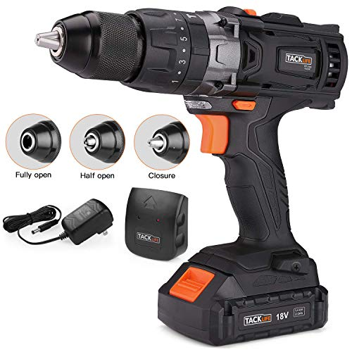 """Cordless Drill, Tacklife 20V Drill 2000Ah Lithium-Ion Battery with Hammer Action 1/2"""" Metal Auto-locking Chuck 2-Speed Max Torque 310 In-lbs and 16+3 Position with LED- PCD04C"""