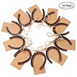 OurWarm 10pcs Good Lucky Horseshoe Wedding Favors with Kraft Tags Rustic Horseshoe Gifts for Vintage Wedding Party Decorations Kentucky Derby Party Supplies