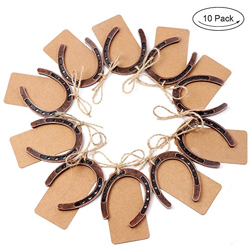 OurWarm 10pcs Good Lucky Horseshoe Wedding Favors with Kraft Tags Rustic Horseshoe Gifts for Vintage Wedding Party Decorations Kentucky Derby Party -