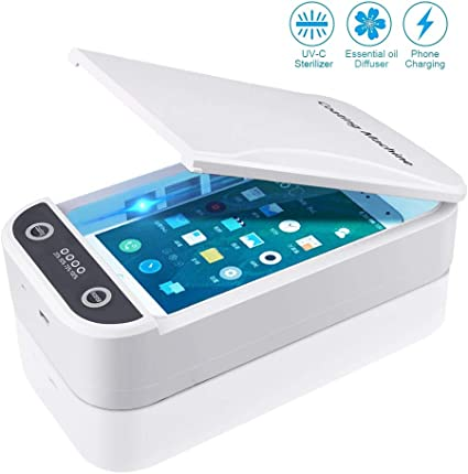Keys UV Smart Phone Sanitizer-Portable Cell Phone Sterilizer-Aromatherapy Function Disinfector with USB Charging for All iPhone Android Cellphone Toothbrush Salon Tools Jewelry White Watches