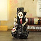 Hansense Resin Skull Backflow Incense Burner Holder with Incense Cones - Halloween Ghost Head