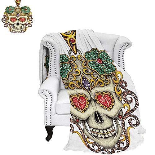 WilliamsDecor Day of The Dead Digital Printing Blanket Sugar Skull with Heart Pendants Floral Colorful Design Print Custom Design Cozy Flannel Blanket 90