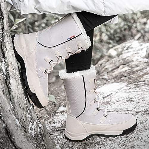 クラシックフェイクファーが裏地の女性の防水暖かいアウトドアシューズ男性レースアップ傘布ミッド寒冷シューズ用スノーブーツ (色 : 白い, サイズ : 23 CM)