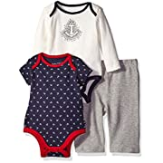 Nautica Baby 3 Piece Bodysuit and Pant Set, Sport Navy, 0-3 Months