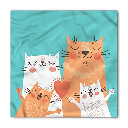 Funny Bandana By Ambesonne  Cute Kitten Couple Sweet Happy Paws Loving Heart With Family Cats Poster Style Animal  Printed Unisex Bandana Head And Neck Tie Scarf Headband  22 X 22 Inches  Multicolor