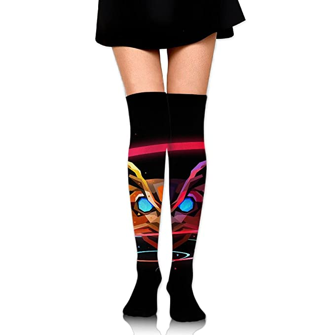 c62742d966c Amazon.com  Space Owl Over The Knee Long Socks Tube Thigh-High Sock  Stockings For Girls   Womens  Clothing