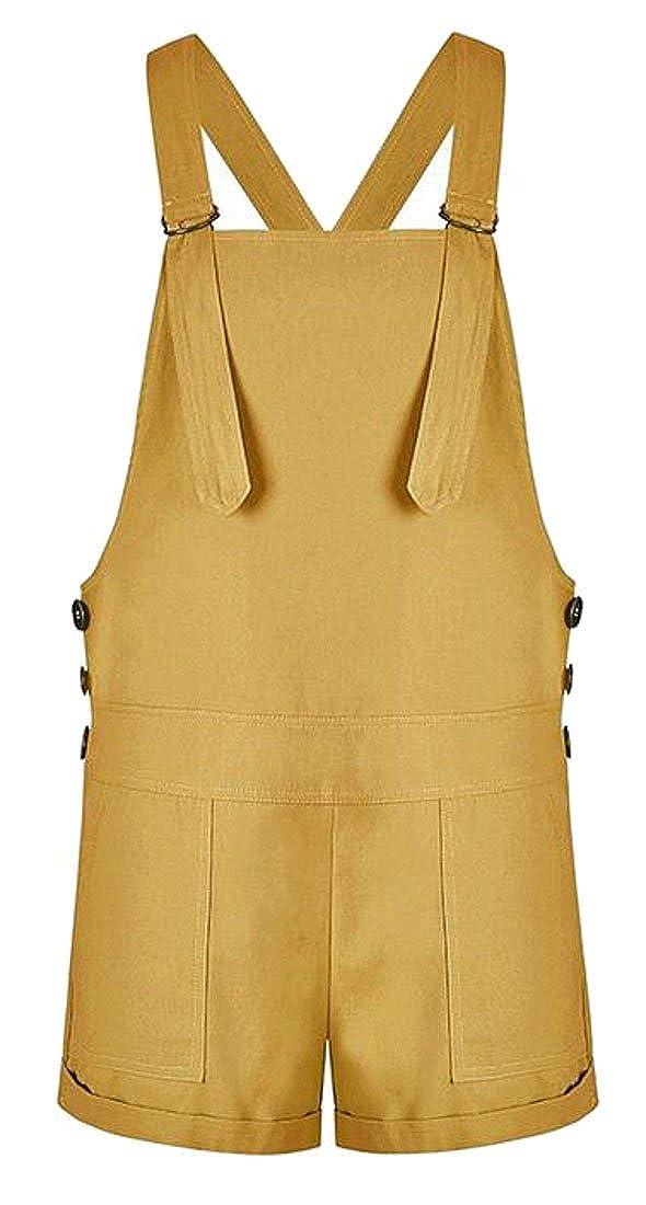 Pandapang Womens Jumpsuit Strap Pure Color Fashion Shorts Playsuit Loose Overalls