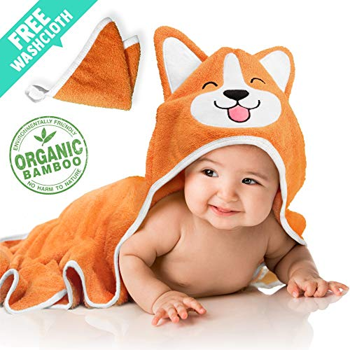 Baby Aves Premium Organic Bamboo Hooded Bath Towel with Free Washcloth | Large 35x35 Towel for Babies, Toddlers, Kids | Cute Face Design & Ears | Perfect Baby Shower & Registry Gift (Orange)
