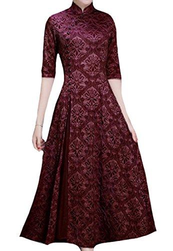 Zimaes-Women Casual Cheong-sam Side Split Floral Lace Tuxedo Dress 1 XXL