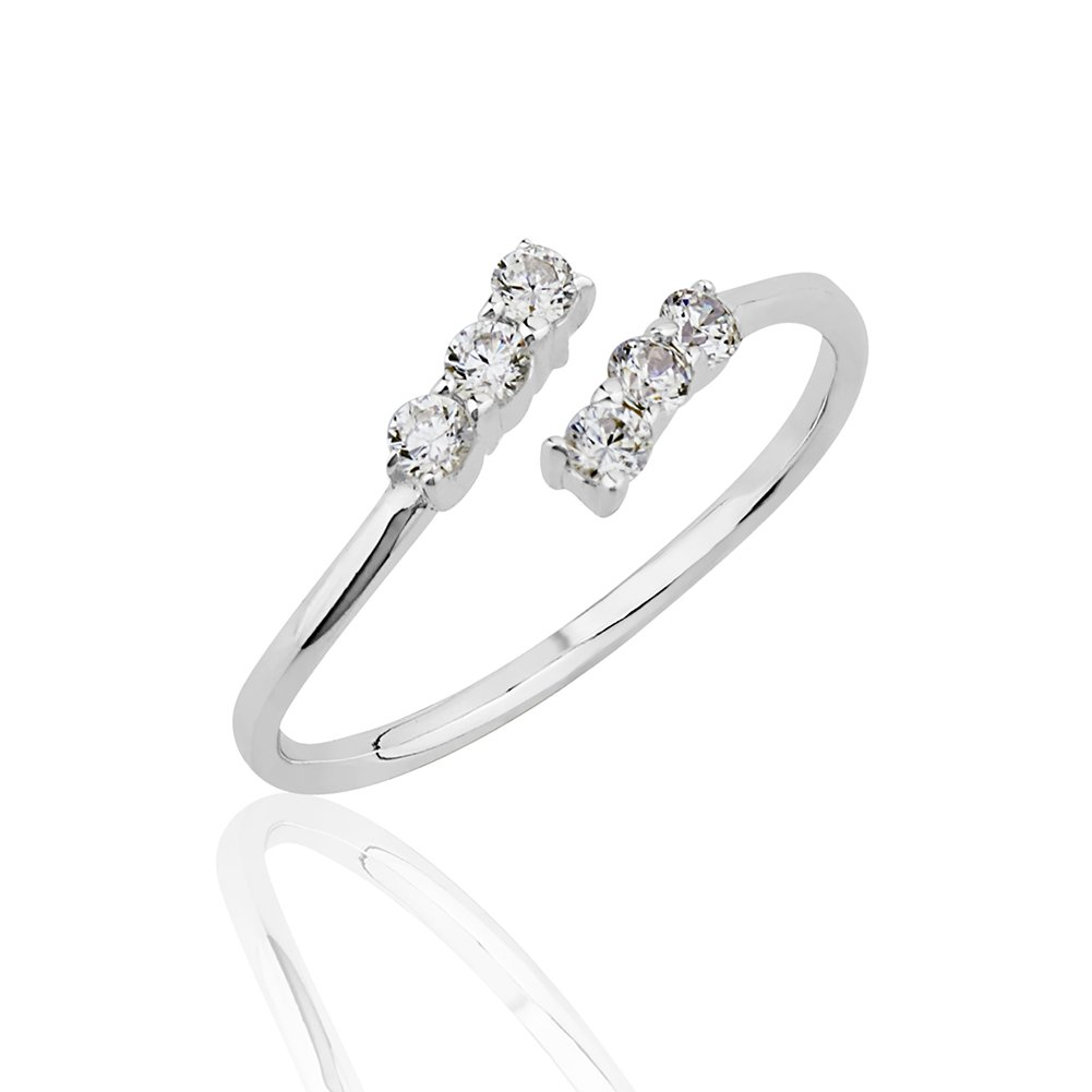 Chuvora 925 Sterling Silver Cubic Zirconia CZ Wrap Around Band Knuckle Midi or Thumb Ring 6mm, Size 4.5-5