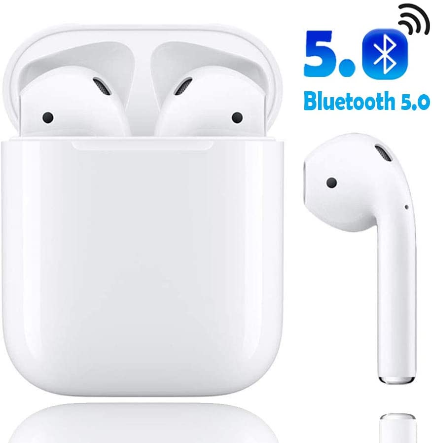 Bluetooth Headphones, Bluetooth 5.0 Wireless Earbuds, 3D Stereo 24H Playtime Wireless Sports Headset, IPX5 Waterproof, Pop-ups Auto Pairing for Apple Airpods Android iPhone Samsung White .