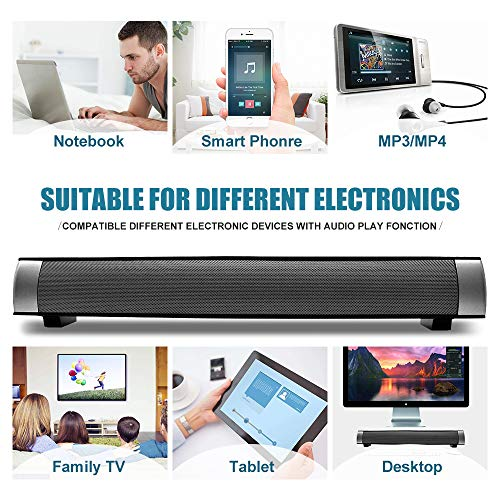 Sound Bar Wired and Wireless Connection 3D Surround Sound Speaker Bar Bluetooth Home Theater Silver with 2.0 Channel Remote Control Dual Connection Methods for TV PC Smartphones Music and Movie by YooGui (Image #3)