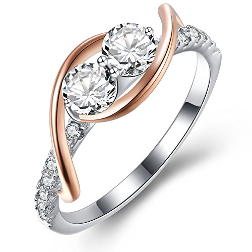 Vibrille Rose Gold Plated and Sterling Silver Swirl Two-Stone Engagement Wedding Band Rings for Women Size 9