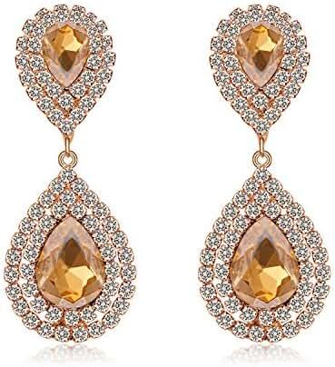 Paxuan Womens Silver / Gold Plated Clear Rhinestone Crystal Pierced Wedding Bridal Teardrop Drop Dangle Earrings Jewelry Hypoallergenic