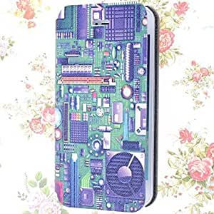 Mini - Special Grains Electronic Circuit Pattern PU Full Body Case with Card Slot for iPhone 5/5S