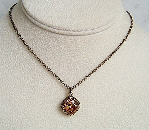 Brown Simulated Topaz Square Crystal Pendant 18 Inch Necklace November Birthstone Gift Idea BA