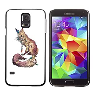 LECELL--Funda protectora / Cubierta / Piel For Samsung Galaxy S5 SM-G900 -- White Nature Animal Red Minimalist --