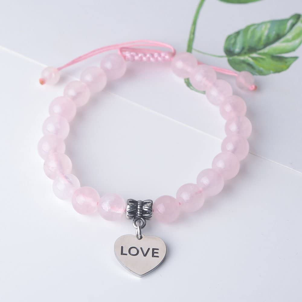 Jeka Inspirational Message Rose Quartz Bracelet for Women Girls Healing Energy Encouragement Quote Charm Natural 8mm Pink Crystal Adjustable Jewelry