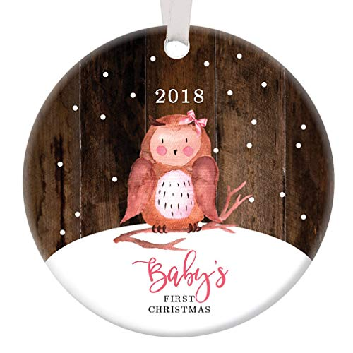 Baby Girl's First Christmas Ornament 2018 Adorable Little Owl Infant Daughter Grandchild's 1st Holiday Ceramic Collectible 3