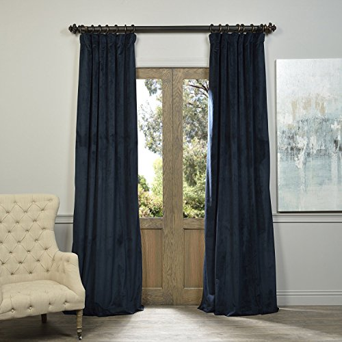 Half Pole (HPD HALF PRICE DRAPES Half Price Drapes VPCH-194023-108 Signature Blackout Velvet Curtain, Midnight Blue, 50 X 108)