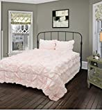 3 Piece Plush Solid Color Comforter Set Twin Size, Featuring Beautiful Hand Turned Knots Shabby Chic Comfortable Bedding, Stylish French Country Romantic Girls Teens Bedroom Decoration, Pink