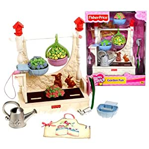 Fisher Price Year 2005 Loving Family Dollhouse Furniture Accessory Set - GARDEN FUN with Gardening Center, Watering Can, Pull-Out Hose, Trowel, 2 Removable Flowers, Hanging Basket and Apron for Mom to Wear (Dollhouse Sold Separately)
