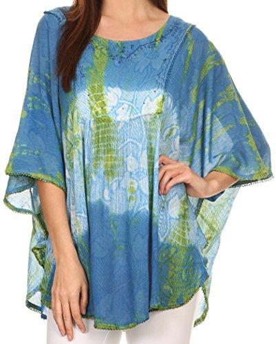 Sakkas 14031 - Ellesa Ombre Tie Dye Circle Poncho Blouse Shirt Top with Sequin Embroidery - Blue/Cream - OS