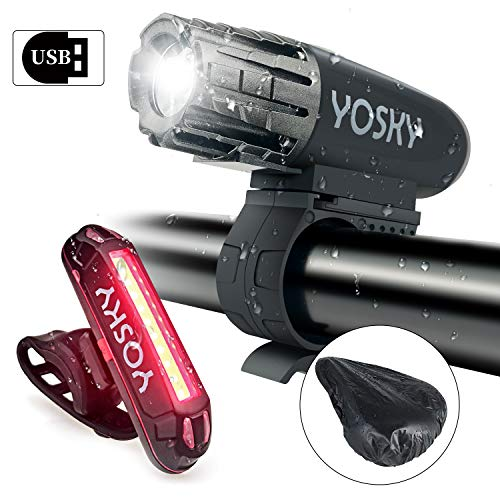 - YOSKY USB Rechargeable Bike Light Set - 350 Lumens Powerful LED Bicycle Headlight and Taillight- Super Bright Bike Front Light and Rear Light for Safe Night Riding