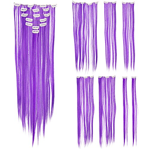 SWACC 7 Pcs Full Head Party Highlights Clip on in Hair Extensions Colored Hair Streak Synthetic Hairpieces (22-Inch Straight, (Neon Purple Hair)