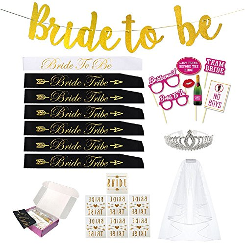 BRIDE TRIBE BACHELORETTE PARTY SASH SET(COMPLETE KIT): Bride to be banner, Bride to be sash,7 Bride tribe Sashes,Tiara,Veil,Photo Props,Bride Tribe tattoos for Bridesmaids,Bridal shower favors