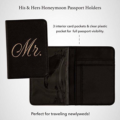 Mirror Mirror Passport Wallets Travel Holder Set: Mr. & Mrs. Slim Waterproof Passport Case Covers & Organizer Slots for ID, Money & Credit Card - Black & Rose Gold by Mirror Mirror (Image #4)