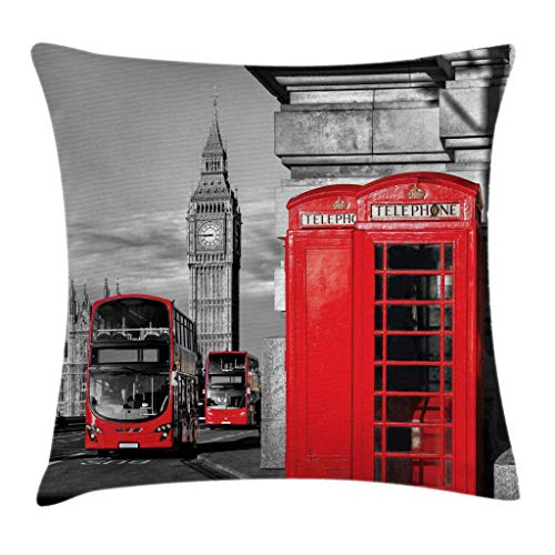 Ambesonne London Throw Pillow Cushion Cover, London Telephone Booth in The Street Traditional Local Cultural Icon England UK Retro, Decorative Square Accent Pillow Case, 16 X 16 Inches, Red Grey