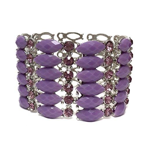 - Fun Summer Fashion Purple Gem and Rhinestone Formal Prom Stretch Bracelet