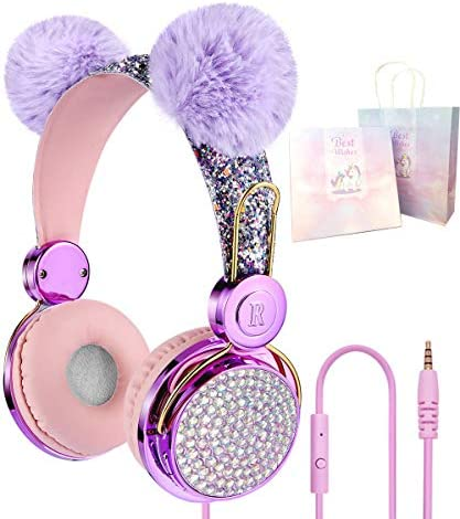 Unicorn Kids Headphones 85dB Volume Limited Wired On-Ear HeadphonesSuper Cute Sparkly Shiny Unicorn Cat Ear for Kids Xmas/Birthday Gift for Children/Toddler/Baby