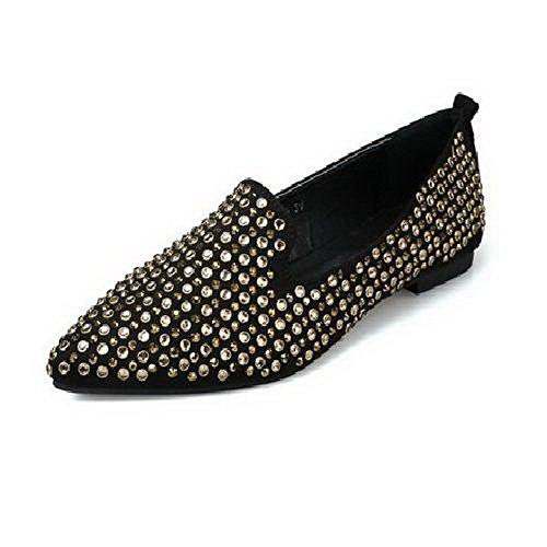 Amoonyfashion Damesslip Op Pu-puntige Gesloten Teen Geen Hak Stevige Platte Schoenen-schoenen Goud