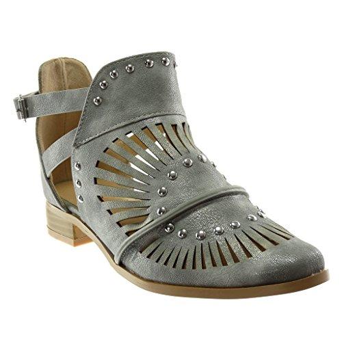 Chaussure Gris Perforée Mode Cm Femme Bloc Talon Cheville Lanière Ouverte Lanières Bottine Clouté Angkorly Croisées 3 gRnZTg