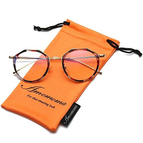 448012e4ff0f1 Amomoma Vintage Optical Eyewear Non-prescription Eyeglasses Frame with Clear  Lenses AM5016