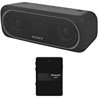 Sony XB30 Portable Wireless Speaker with Bluetooth, Black - SRSXB30/BLK (2017 model) + Bluetooth 4.1 Stereo Receiver and Transmitter 2 in 1