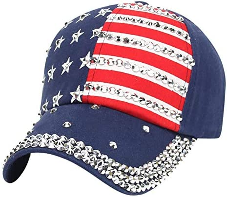 Bule and Red American Flag Unisex Baseball Cap Classic Adjustable Plain Cap