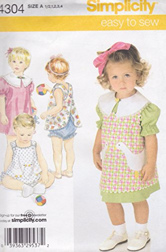 (Simplicity Easy to Sew Toddler's Dress, Reversible Pinafore or Top and Panties, Size A: 1/2~1~2~3~4)