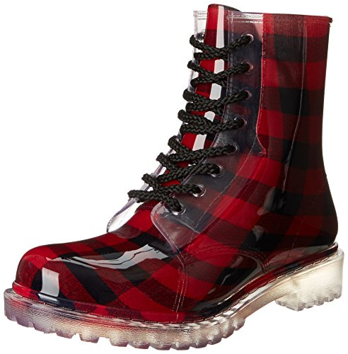 Dirty Laundry Women's Roadie Plaid Rain Boot,Red,9 M US