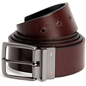 Logical Leather Reversible Men's Belt - Genuine Full Grain Leather Belt for Men - Brown / Black - 40