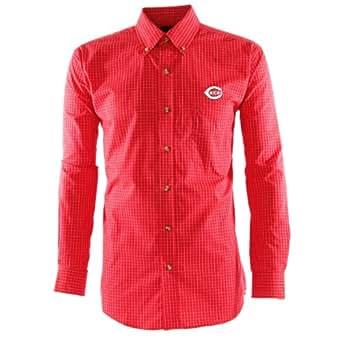 MLB Men's Cincinnati Reds Esteem Long Sleeve Woven Shirt (Dark Red/Grey/White, XX-Large)