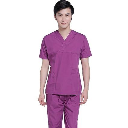 OPPP Ropa médica Hombre Doctor Scrub Washer Juego de Mangas Cortas Cirujano púrpura Cirujano médico Uniforme
