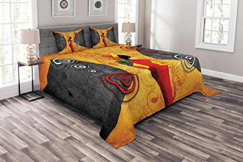 African Bed - Lunarable African Bedspread Set King Size, Traditional African Woman Surrounded by Swirling Motifs Savannah Female Graphic, Decorative Quilted 3 Piece Coverlet Set with 2 Pillow Shams, Pastel Orange
