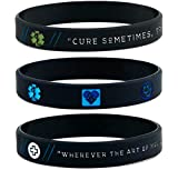 (12-pack) Medical Inspirational Wristbands w/Hippocrates' Quotes & Medical Symbols - Wholesale Bulk Nurse Medical Gifts Lot Bundle
