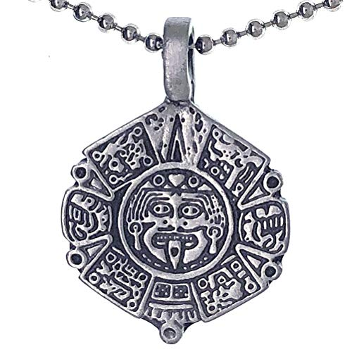 Ohdeal4U Mayan Calendar Aztec Tribal Inca Indian Mexican Pewter Men Pendant Necklace Charm Amulet w Silver Ball Chain